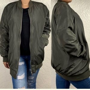 NWT Active USA Longline Bomber Jacket Army Green